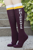 Adidas Ladies Maroon Knee High Socks with Vertical Chippewas