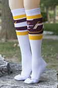 Adidas Women's White Flying C Knee High Socks with Stripes