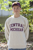 Arched Central Michigan Applique Oatmeal Crew