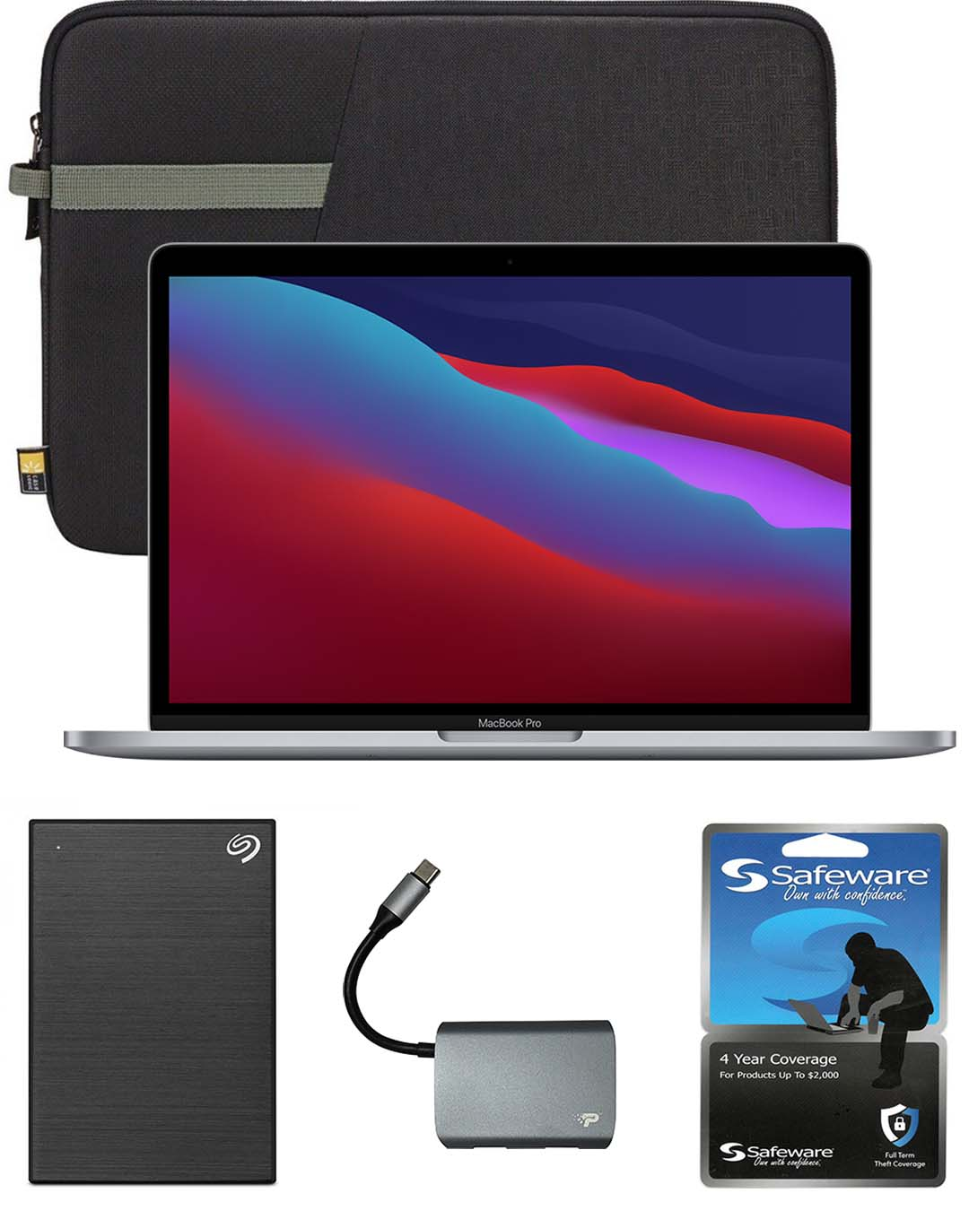 13-inch MacBook Air with Safeware 4 year warranty, 13-inch protective sleeve, 1TB external hard drive and 3-port USB 3.0 hub