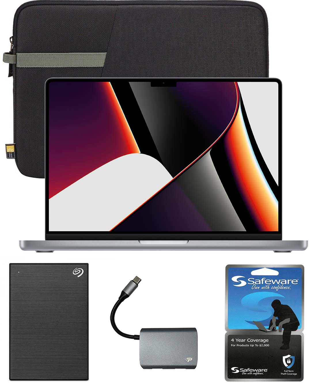 13-inch MacBook Pro with Safeware 4 year warranty, 13-inch protective sleeve, 1TB external hard drive and 3-port USB 3.0 hub