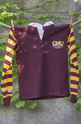 Cmu Maroon Youth Rugby Shirt With Striped Sleeves