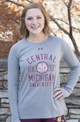 Distressed Central Michigan University Seal Ladies Gray Under Armour Long Sleeve