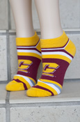 Flying C Maroon and Gold Striped Ankle Socks
