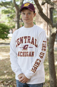 Central Michigan Flying C White Long Sleeve With Fire Up Chips On Sleeve
