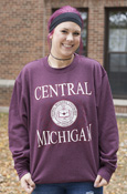 Central Michigan Seal Laurels Heathered Maroon Crew