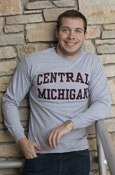 Arched Central Michigan Heather Gray Applique Long Sleeve