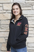 Ladies 1/4 Zip - Flying C Block Cmu On Sleeve And Chippewas On Back