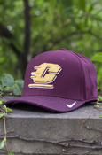 Flying C Dark Heathered Maroon Nike Adjustable Hat With Chippewas On Back
