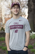 Cmu Box Chippewas Flying C Gray Nike T-Shirt