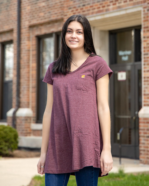 Flying C Ladies Maroon V-Neck Dress