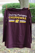 Distressed Central Michigan Chippewas Youth Maroon Long Sleeve T-Shirt