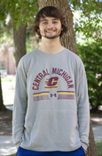 Arched Central Michigan Flying C Under Armour Lightweight Crew