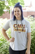 Cmu Chippewas Ladies Gray Under Armour Hooded T-Shirt
