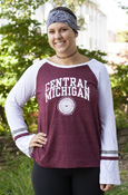 Arched Central Michigan Seal Ladies Bell Sleeve Maroon Tee