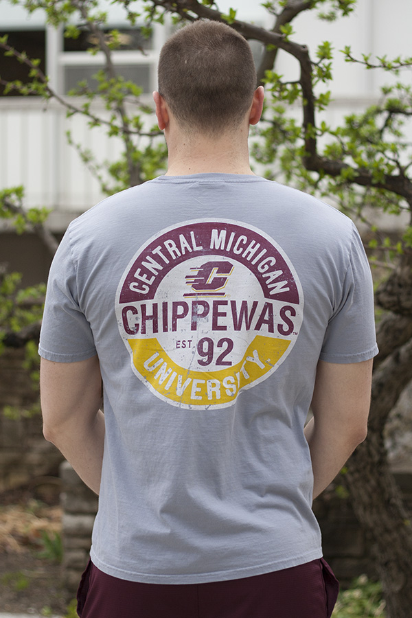 Distressed Circle Chippewas Flying C Steel Gray T-Shirt With Back Graphic (SKU 5037677354)
