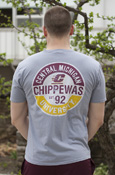 Distressed Circle Chippewas Flying C Steel Gray T-Shirt With Back Graphic