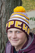 Chippewas Maroon, Gold and White Striped Pom Hat