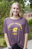 Arched Central Michigan Flying C Ladies Maroon Knot Tee