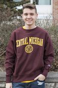 Arched Central Michigan Seal Distressed Maroon Crew