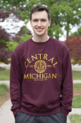 Arched Central Michigan Seal Maroon Crew