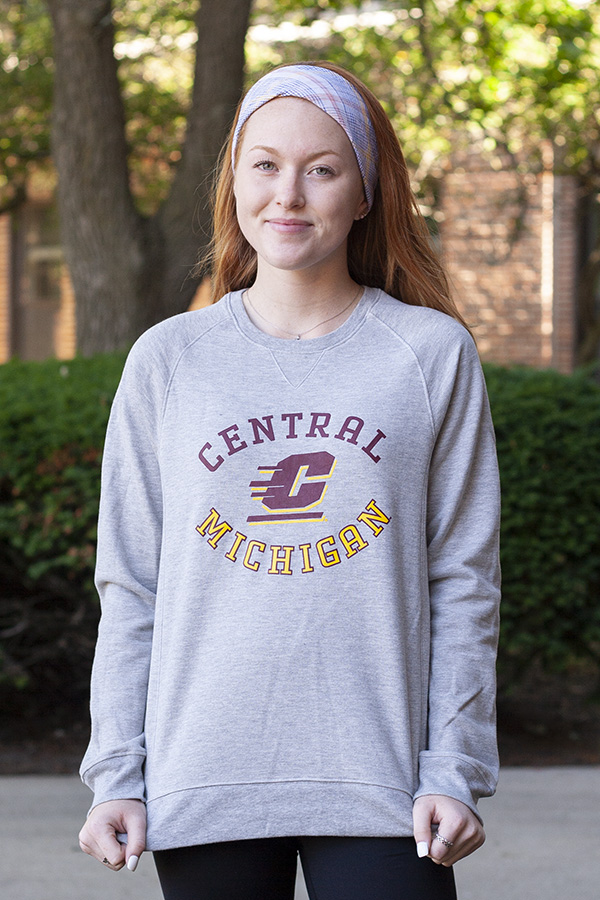 Oval Central Michigan Flying C Gray Ladies Crew (SKU 5037994135)