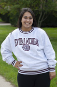 Arched Central Michigan Seal Sweatshirt With Striped Detail