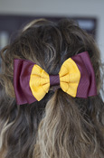Maroon and Gold Ruffed Pinch Bow Barrette