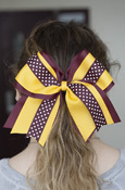 Maroon, Gold, and Dots Ponytail Bow