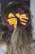 Maroon, Gold, and Dots Windmill Bow Barrette