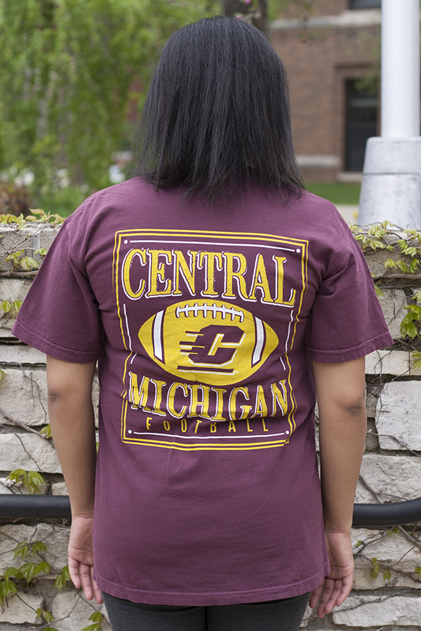 Chippewas Flying C Football Maroon Comfort Colors T-Shirt With Back Graphic (SKU 5038896754)