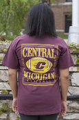 Chippewas Flying C Football Maroon Comfort Colors T-Shirt With Back Graphic