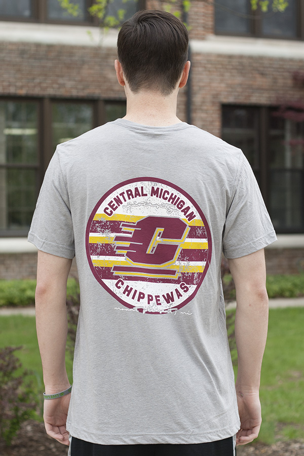 Central Michigan Flying C Gray T-shirt with Circle Back Graphic