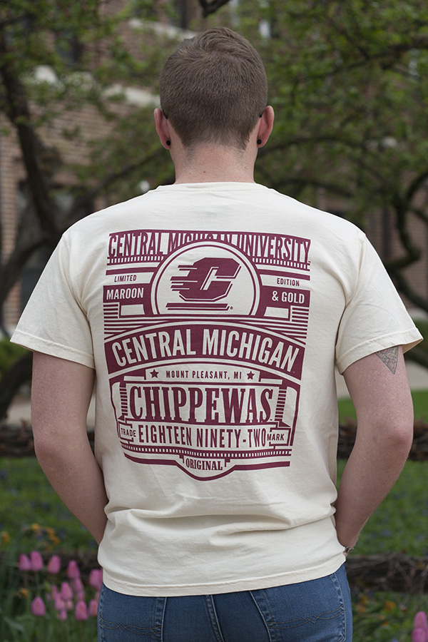 Central Michigan Chippewas Flying C Ivory Comfort Colors T-Shirt With Back Graphic (SKU 5038923054)