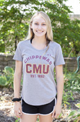 Arched Chippewas Cmu Est. 1892 Under Armour Gray Ladies T-Shirt