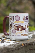 Maroon and White Mug with All Over Central