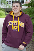 Arched Chippewas Flying C Marron Hoodie With Cmu On Sleeve