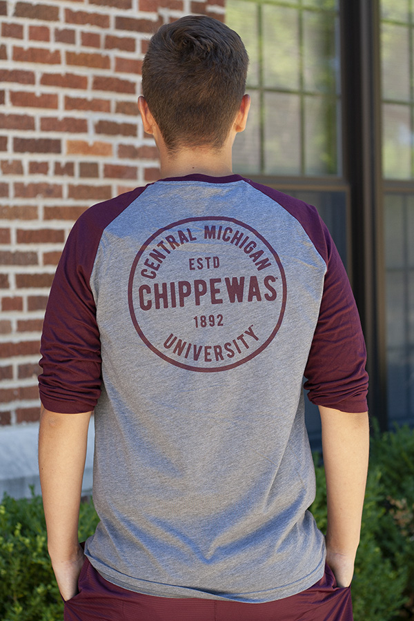 ae74518b3 Gray And Maroon Adidas 3/4 Sleeve T-Shirt With Chippewas Circle Back Graphic