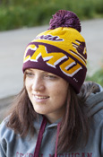 Adidas Chippewas CMU Flying C Gold Pom Hat with Maroon Cuff