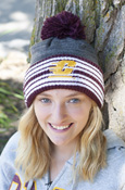 Flying C Adidas Gray Pom Hat With Maroon And White Cuff
