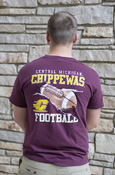 Flying C Chippewa Football Maroon T-Shirt With Back Graphic