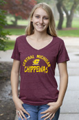 Arched Central Michigan Flying C Chippewas Ladies Maroon V-Neck T-Shirt