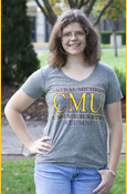Central Michigan Cmu University Alumni Ladies Gray V-Neck T-Shirt