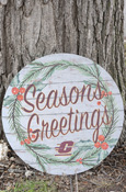 "20""X20"" Flying C Seasons Greetings Circle Wood-Like Plaque"