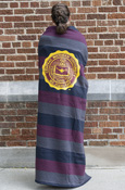 "54X84"" Seal Maroon, Navy And Gray Striped Blanket"