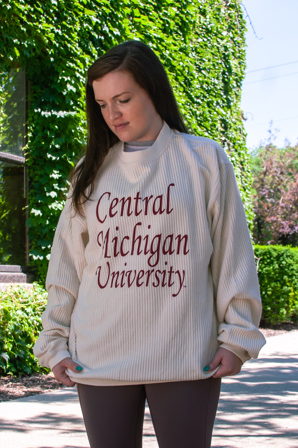 Central Michigan University Ivory Women's Corded Crew<br><small>MV SPORT</small> (SKU 5041701835)