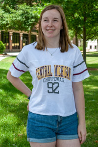 Central Michigan Chippewas White Women's Crop T-Shirt<br><small>BLUE 84</small>