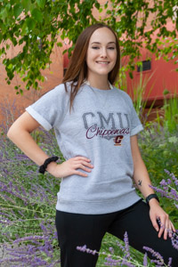 CMU Chippewas Heather Gray Women's Short Sleeve Crew<br><small>BLUE 84</small>