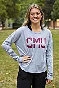 CMU Central Michigan Gray Women's Long Sleeve Crop Top<br><small>UNDER ARMOUR</small>