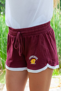 Chippewas Flying C Maroon Women's Draw String Shorts<br><small>UNDER ARMOUR</small>